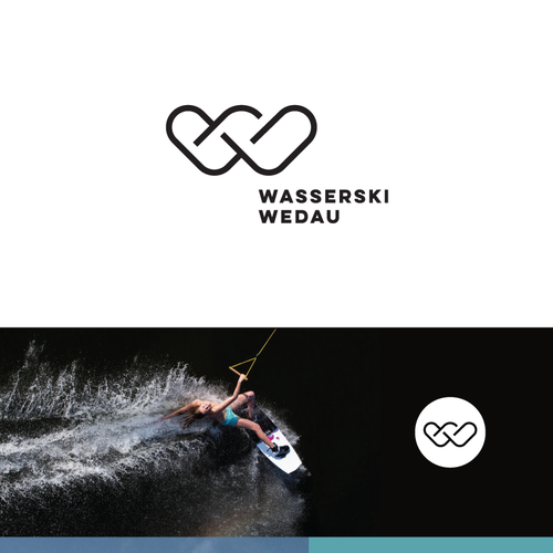 W logo with the title 'Modern logo for a wakeboard park'