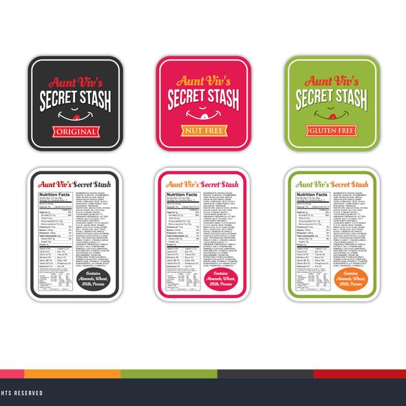 Nutrition label with the title 'Aunt Viv's Secret Stash (Snack Mix) '