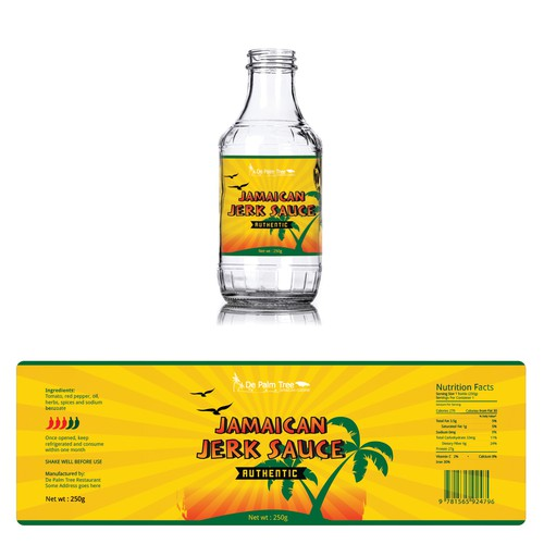 Yellow label with the title 'Label design for Jamaican Jerk Sauce'