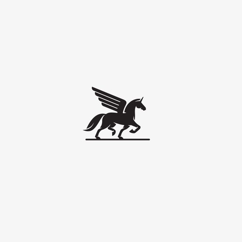 Horse design with the title 'Timeless, simple and elegant unicorn themed logo'