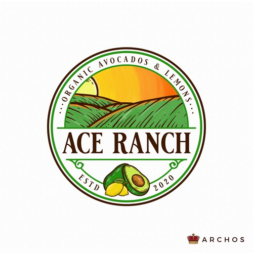 Avocado design with the title 'ACE Ranch'