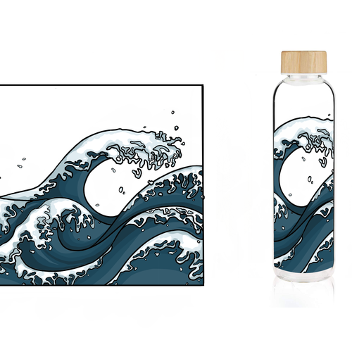 Bottle artwork with the title 'Water bottle design'