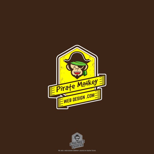 Yellow and brown design with the title 'Pirate Monkey Web Design'
