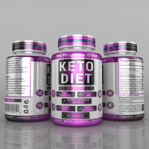 Keto packaging with the title 'Design a Weightloss Brand - Dietary Supplement bottle mockup and label design'