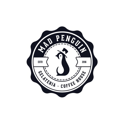 Creamery logo with the title 'Mad Penguin logo for ice cream coffee.'