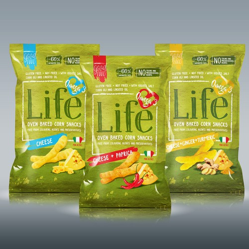Snack bag packaging with the title 'LIFE SNACKS - a packaging for an healthy lifestyle'