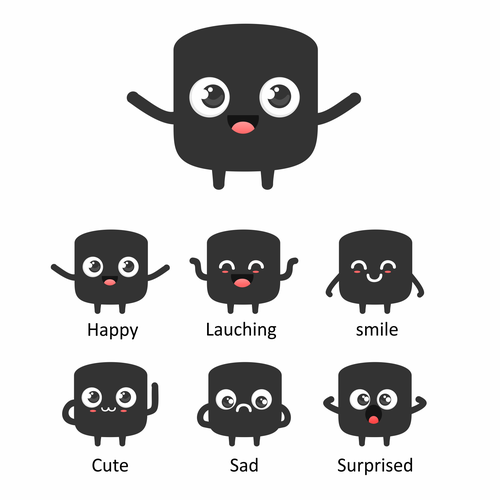 Emoticon artwork with the title 'Amazing Marvin - character design'