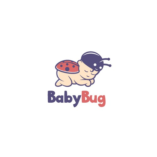 Ladybug logo with the title 'Fun and Cute logo design for a baby product company'