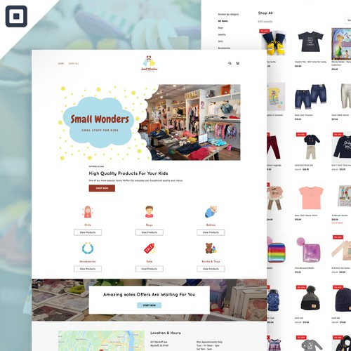 Mobile design with the title 'Small Wonders - Square Store Desigb'