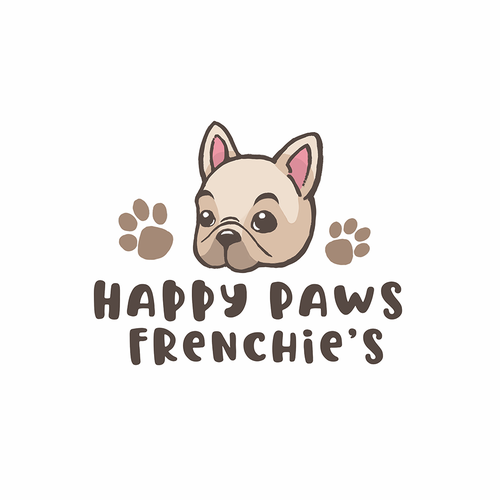Cute animal logo with the title 'Happy paws logo'