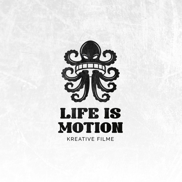 Film reel design with the title 'Creative logo for Life is Motion film production company.'