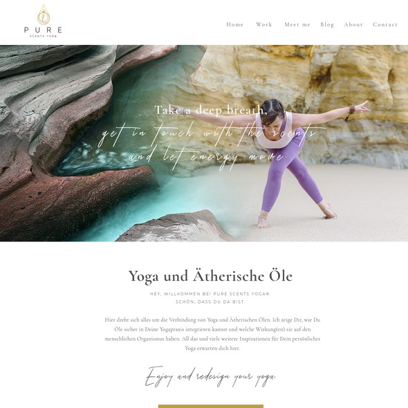 Mindfulness design with the title '1-1 Project for Pure Scents Yoga - Homepage. '