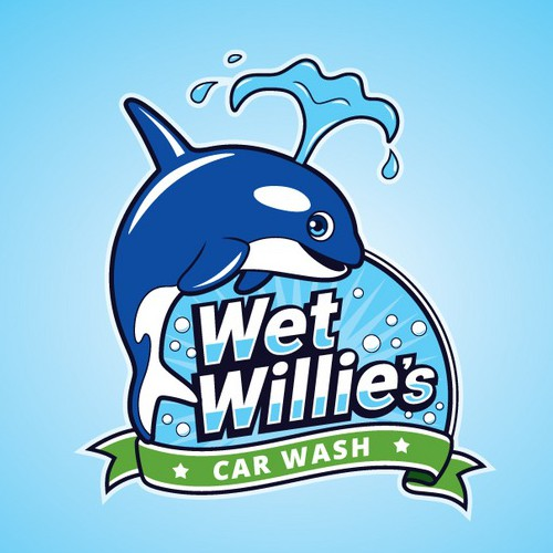 Car wash design with the title 'Fun Whale logo for Car Wash Company'