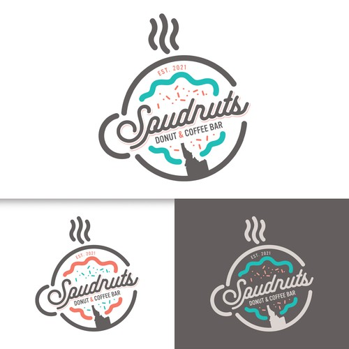 Coral logo with the title 'Spudnuts'