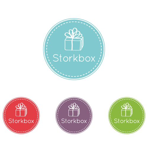 Gift design with the title 'Storkbox sends packages of joy to new moms and needs a logo!'
