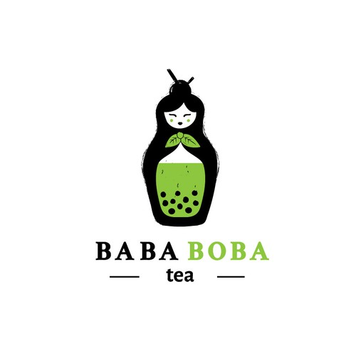 Black and green logo with the title 'Logo concept for an high end boba tea shop'