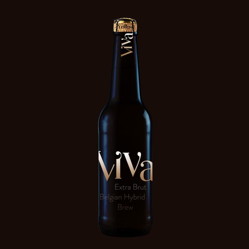 Beer bottle design with the title 'Bottle design for a new Belgian Hybrid Brew with an expensive, stylish though eye catching look'