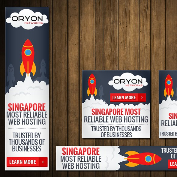 Cloud computing design with the title 'Create Web Ads for Oryon Networks cloud hosting'