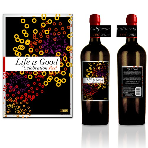 Vino design with the title 'create a compelling wine label with the words Life is Good'
