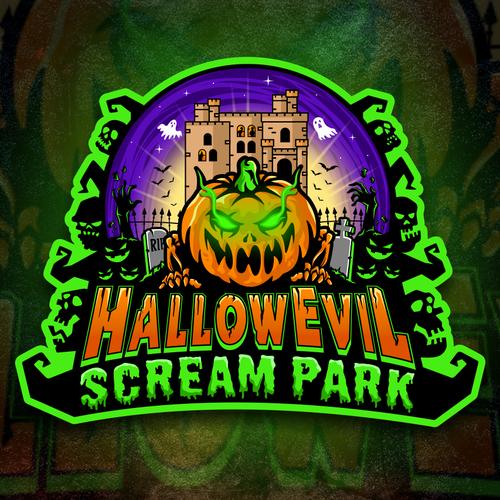 Scream logo with the title 'Logo HallowEvil Scream Park'
