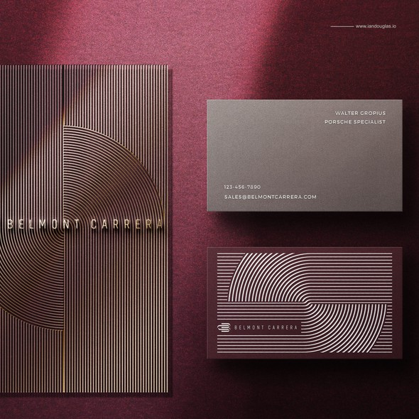 Porsche design with the title 'Classic business cards for Belmont Carrera'