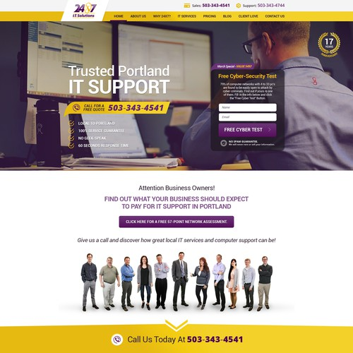 Security website with the title 'Complete Redesign of www.24x7it.com - 50+ pages '