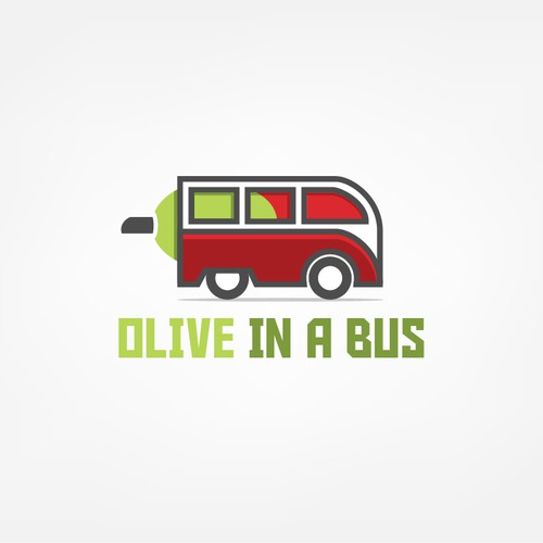 Bus design with the title 'Olive in a Bus - Logo Design'