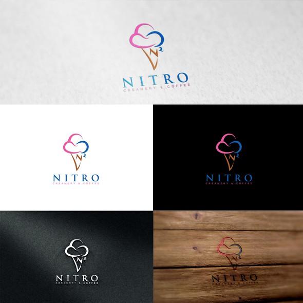 Nitrogen logo with the title 'Nitro Creamery & Coffee'