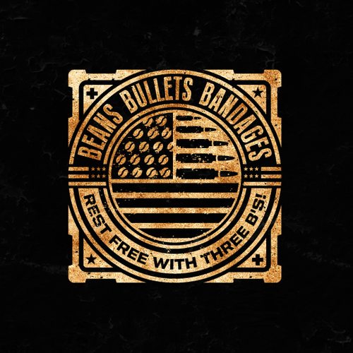 American flag logo with the title 'Beans Bullets Bandages Logo Design'