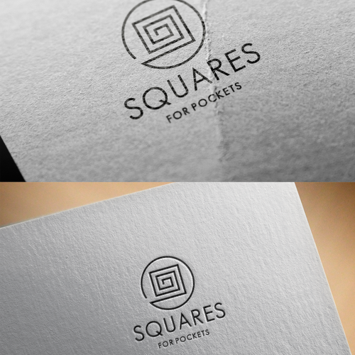 Labyrinth logo with the title 'squares for pocket, man accessory company '