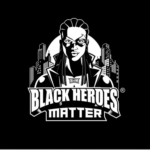 Superhero logo with the title 'Black Heroes Matter'