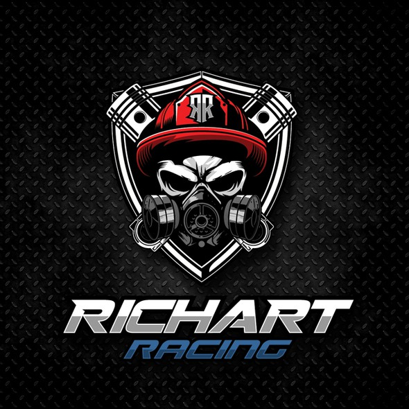 Piston logo with the title 'skull with gas mask and piston, with theme firefighter for RICHART RACING'