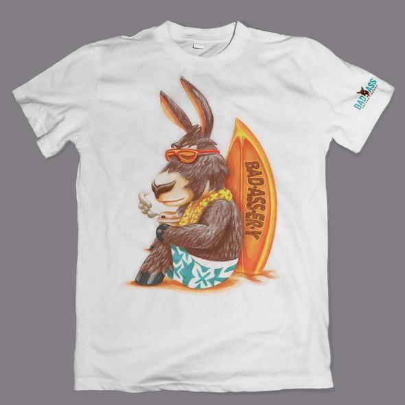 Hawaiian design with the title 'T-Shirt Illustration design'