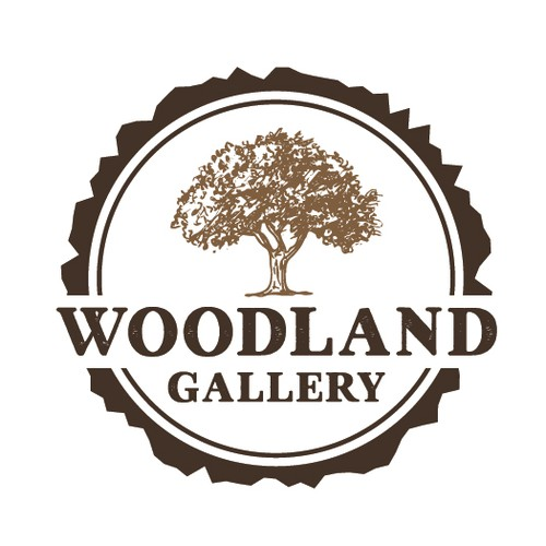 Vintage circle logo with the title 'woodland gallery'
