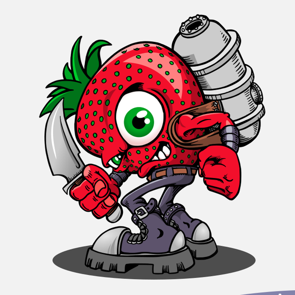 Humor artwork with the title 'Killer Strawberry'