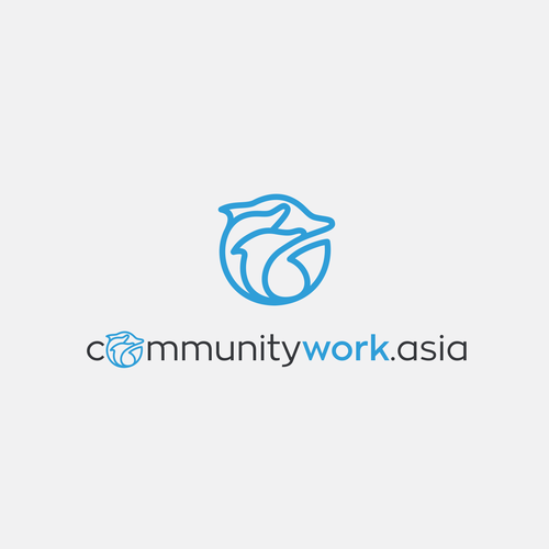 Dolphin logo with the title 'Simple logo for work community'