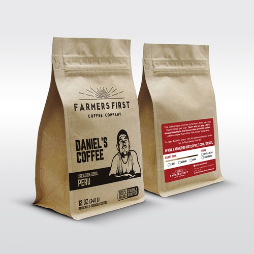 Packaging with the title 'Hot Stamp Concept for Farmers First Coffee Packaging'