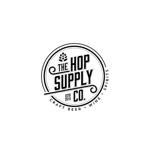 Hop design with the title 'The Hop Supply Co. - craft beer & spirits bottleshop'