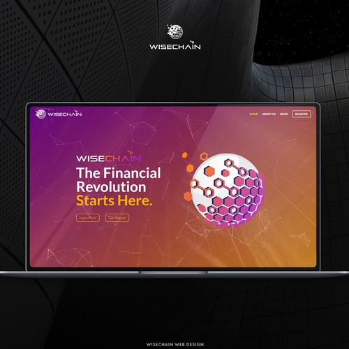 Parallax design with the title 'Web Design : Wisechain Investment'