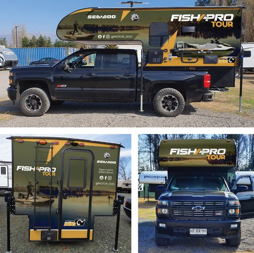 Trailer design with the title 'Camper Wrap for a FISHING TOUR'