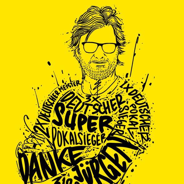 Soccer artwork with the title 'JURGEN KLOPP'