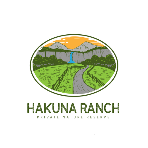 Waterfall logo with the title 'Hakuna Ranch concept logo'