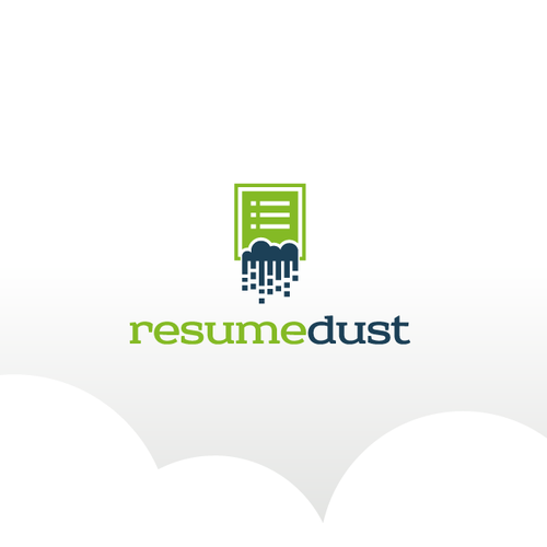 Recruitment logo with the title 'Logo for a internet site - resumedust.com - career services, resume, etc'