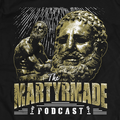 Statue design with the title 'Podcast Design'