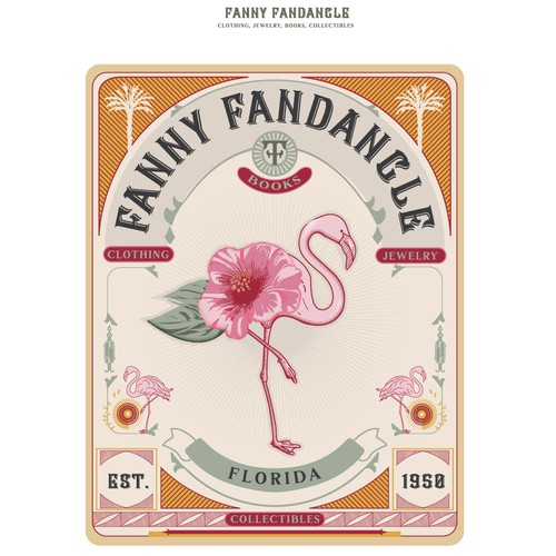 Pink and white logo with the title 'logo for F. Fandangle'