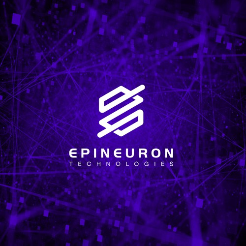 Purple and white logo with the title 'Epineuron logo design'