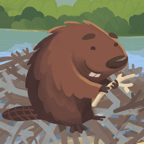Beaver design with the title 'Illustration for children's book'