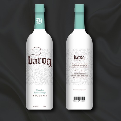 Baroque design with the title 'Liqueur bottle besign'