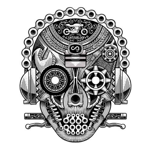 Motor design with the title 'T-shirt design for L'entourloop'