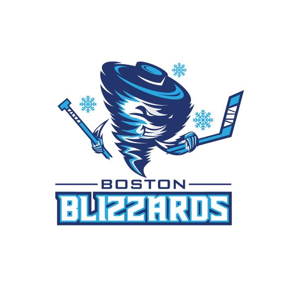 Tornado logo with the title 'Boston Blizzards  logo hockey team'